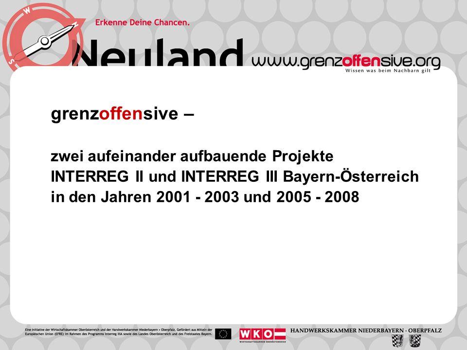grenzoffensive – zwei aufeinander aufbauende Projekte INTERREG II und INTERREG III Bayern-Österreich in den Jahren 2001 - 2003 und 2005 - 2008