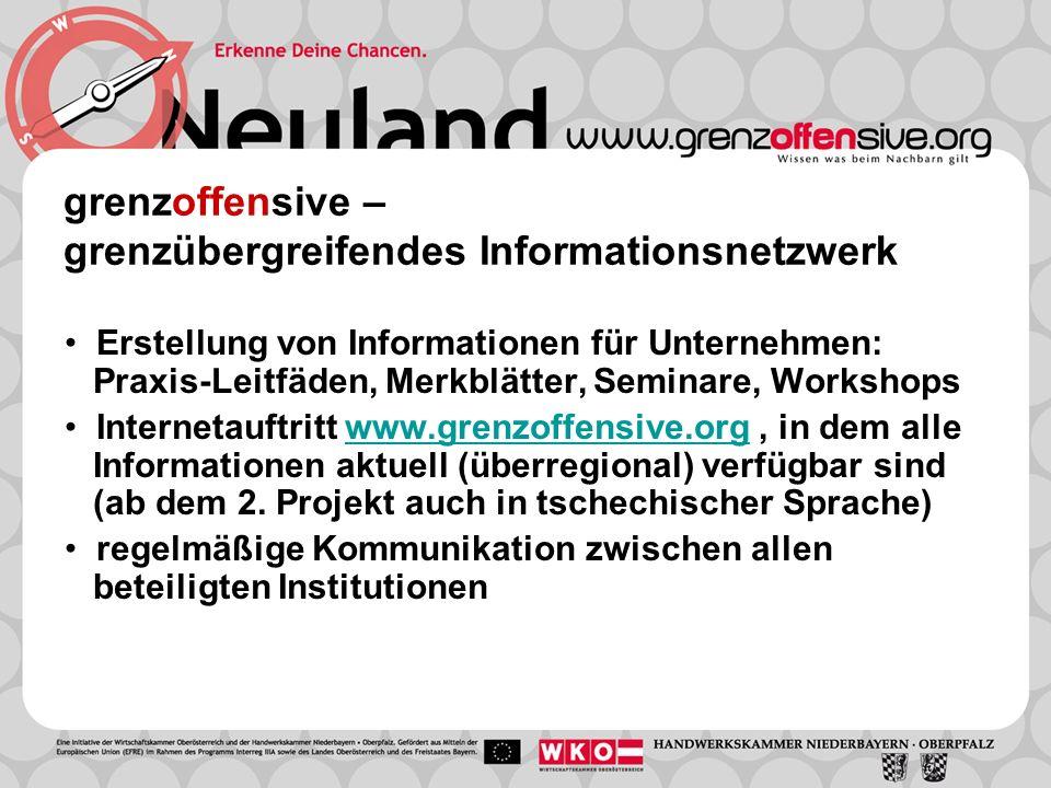 grenzoffensive – grenzübergreifendes Informationsnetzwerk Erstellung von Informationen für Unternehmen: Praxis-Leitfäden, Merkblätter, Seminare, Works