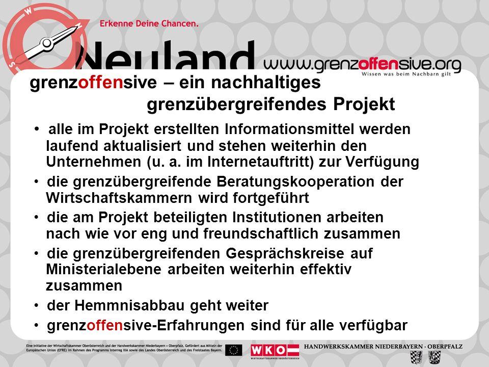 grenzoffensive – ein nachhaltiges grenzübergreifendes Projekt alle im Projekt erstellten Informationsmittel werden laufend aktualisiert und stehen weiterhin den Unternehmen (u.