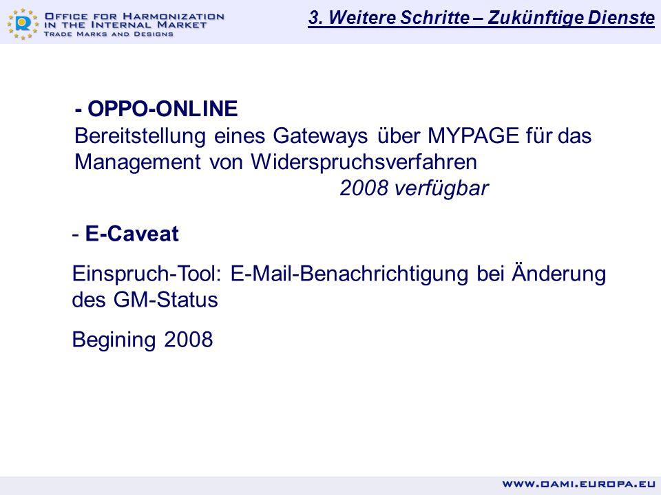 3. Weitere Schritte – Zukünftige Dienste - OPPO-ONLINE Bereitstellung eines Gateways über MYPAGE für das Management von Widerspruchsverfahren 2008 ver