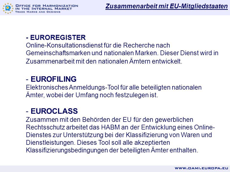 Zusammenarbeit mit EU-Mitgliedstaaten - EUROREGISTER Online-Konsultationsdienst für die Recherche nach Gemeinschaftsmarken und nationalen Marken. Dies