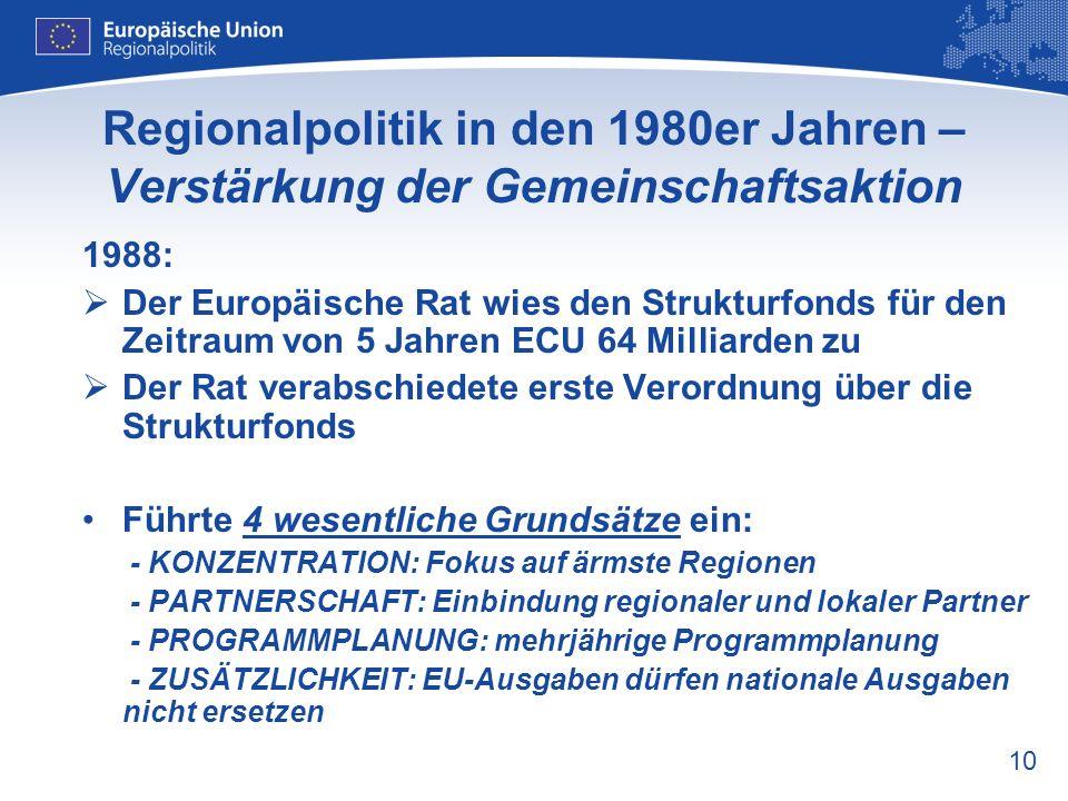 10 Regionalpolitik in den 1980er Jahren – Verstärkung der Gemeinschaftsaktion 1988: Der Europäische Rat wies den Strukturfonds für den Zeitraum von 5