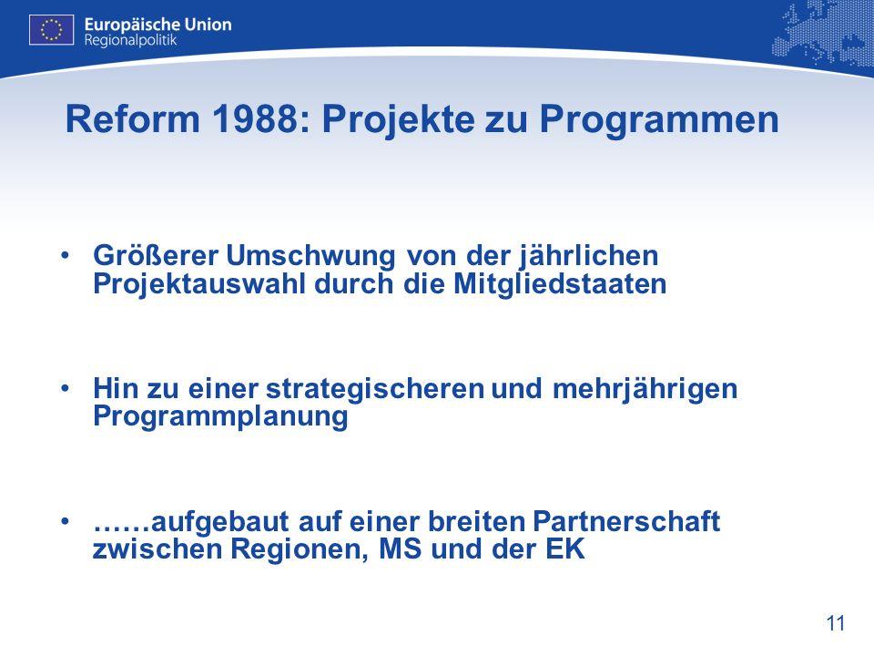 11 Reform 1988: Projekte zu Programmen Größerer Umschwung von der jährlichen Projektauswahl durch die Mitgliedstaaten Hin zu einer strategischeren und