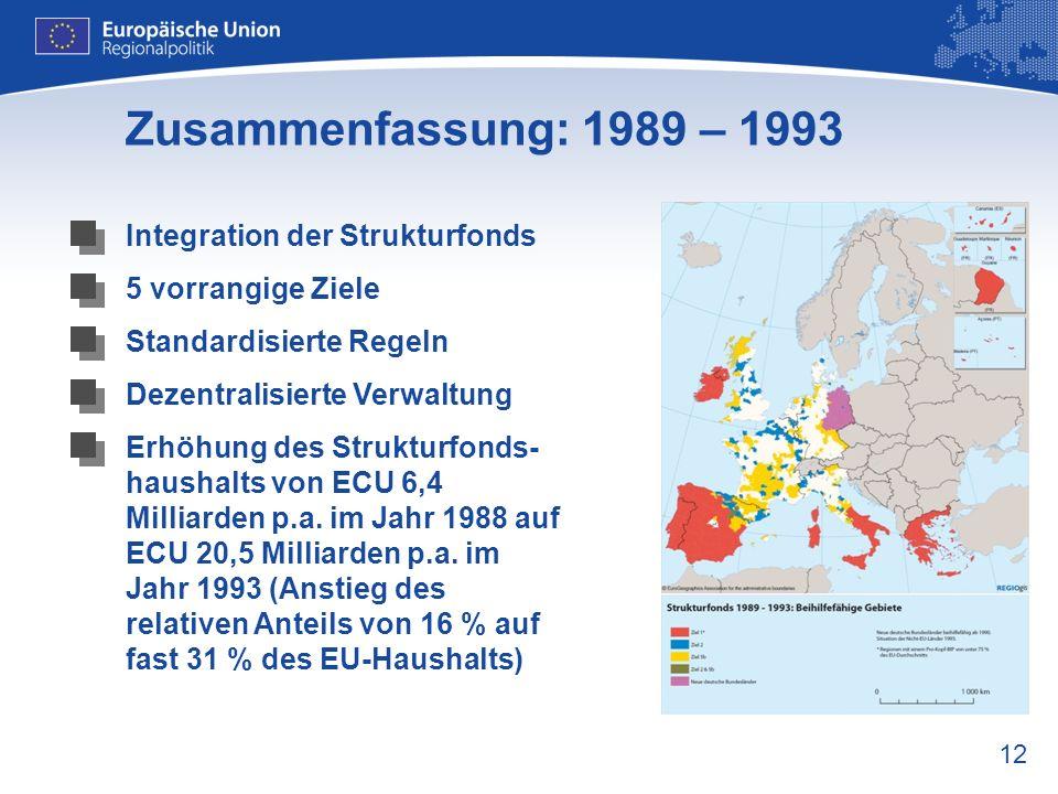 12 Zusammenfassung: 1989 – 1993 Integration der Strukturfonds 5 vorrangige Ziele Standardisierte Regeln Dezentralisierte Verwaltung Erhöhung des Struk