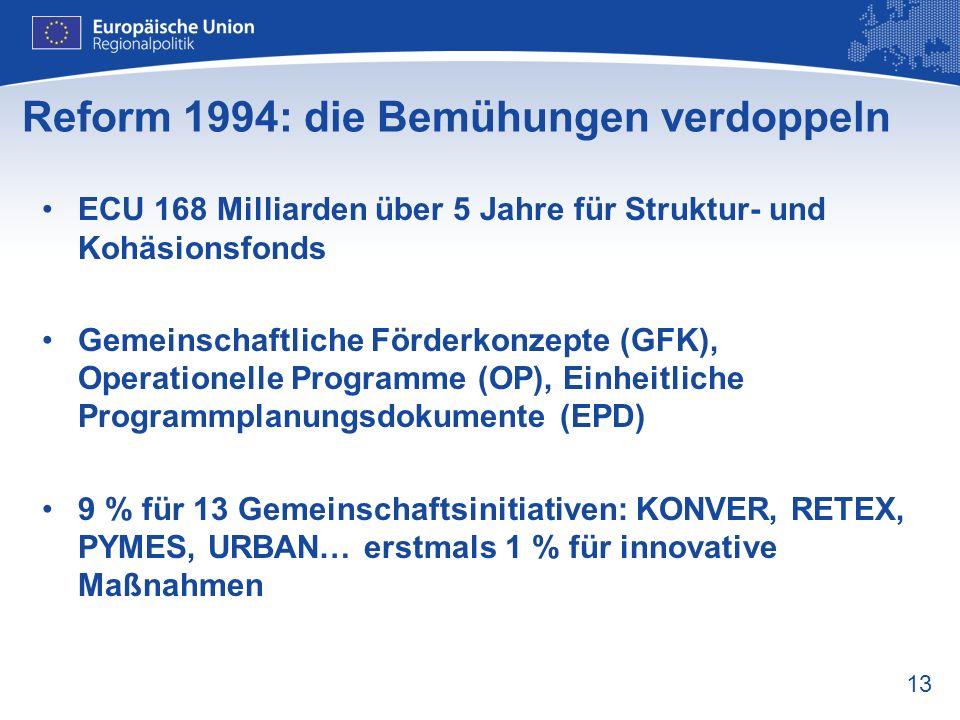 13 Reform 1994: die Bemühungen verdoppeln ECU 168 Milliarden über 5 Jahre für Struktur- und Kohäsionsfonds Gemeinschaftliche Förderkonzepte (GFK), Ope