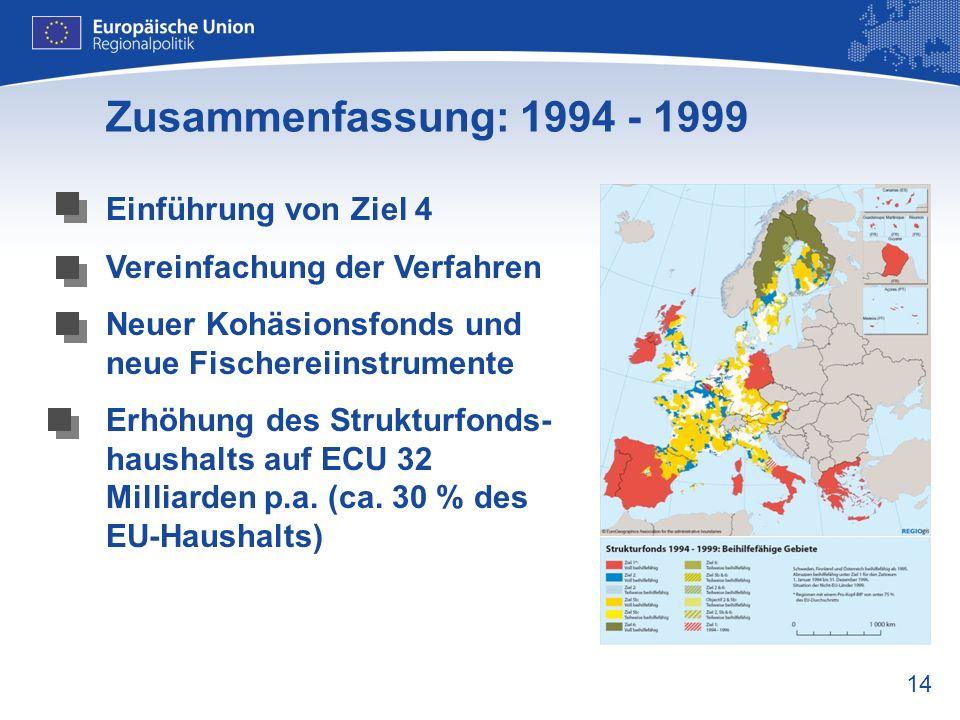14 Zusammenfassung: 1994 - 1999 Einführung von Ziel 4 Vereinfachung der Verfahren Neuer Kohäsionsfonds und neue Fischereiinstrumente Erhöhung des Stru