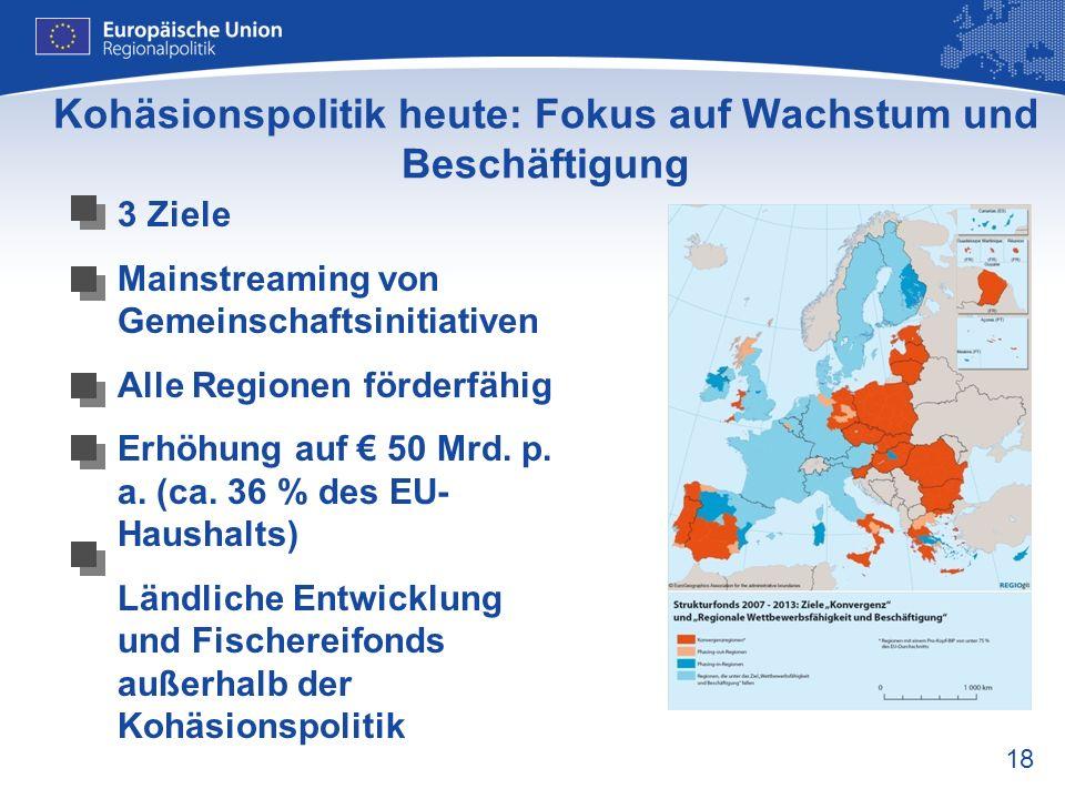 18 Kohäsionspolitik heute: Fokus auf Wachstum und Beschäftigung 3 Ziele Mainstreaming von Gemeinschaftsinitiativen Alle Regionen förderfähig Erhöhung