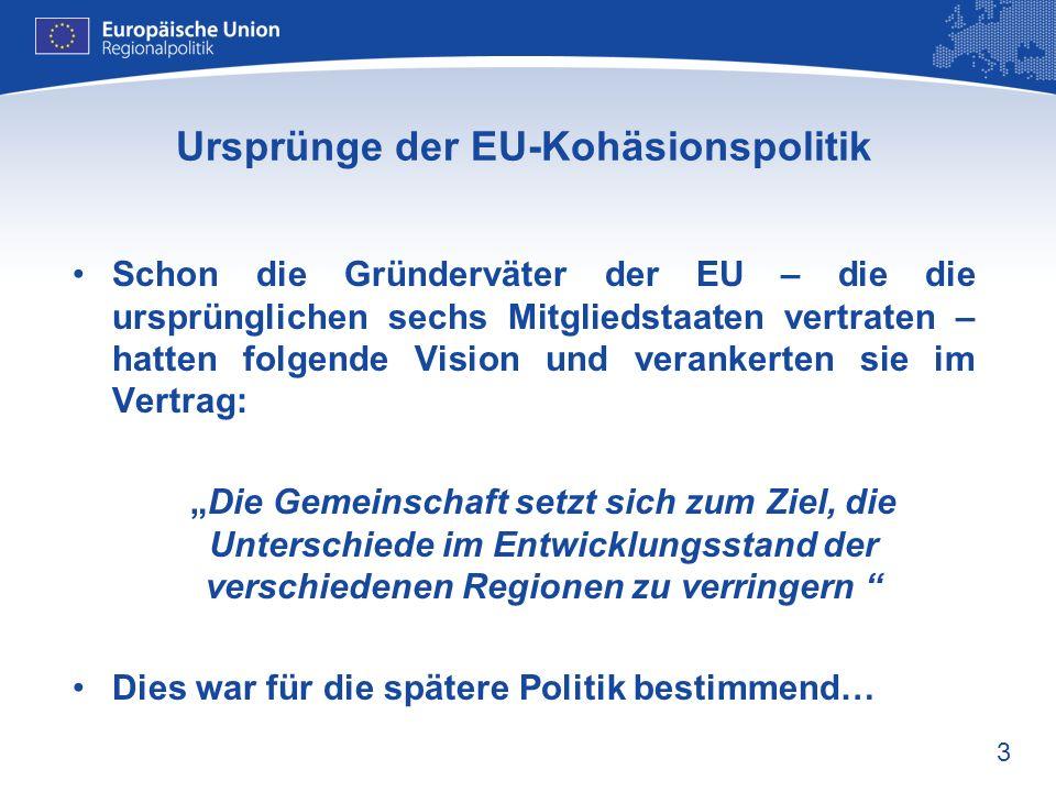 3 Ursprünge der EU-Kohäsionspolitik Schon die Gründerväter der EU – die die ursprünglichen sechs Mitgliedstaaten vertraten – hatten folgende Vision un