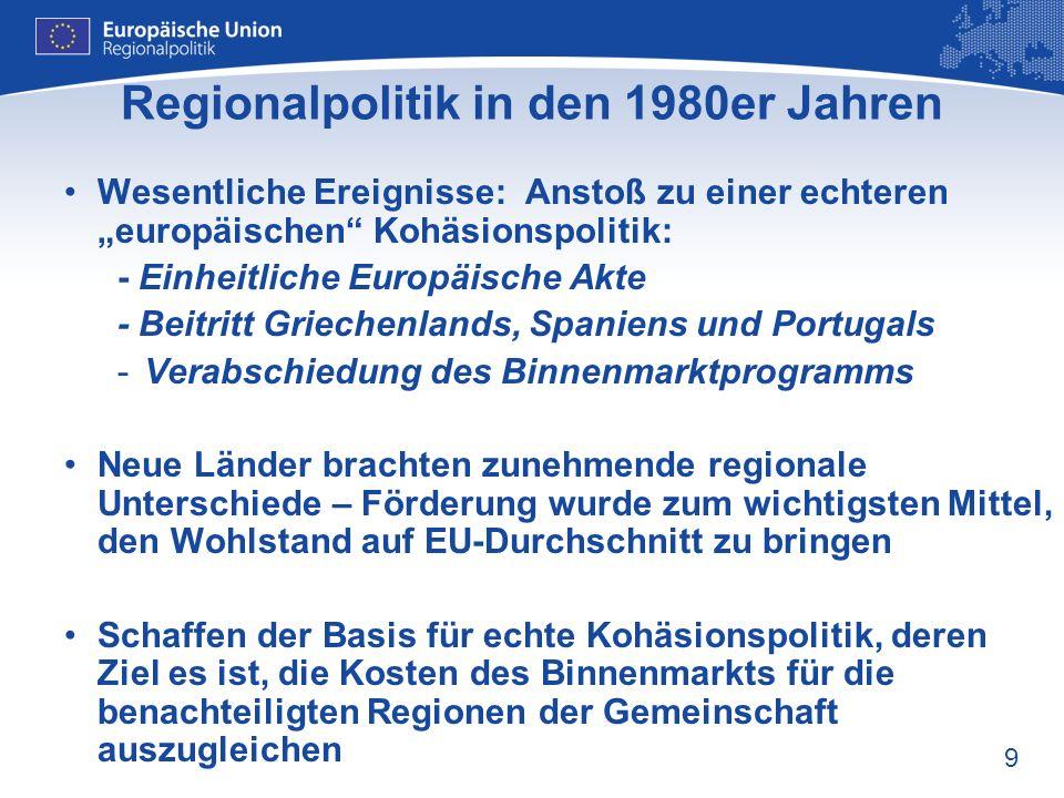 10 Regionalpolitik in den 1980er Jahren – Verstärkung der Gemeinschaftsaktion 1988: Der Europäische Rat wies den Strukturfonds für den Zeitraum von 5 Jahren ECU 64 Milliarden zu Der Rat verabschiedete erste Verordnung über die Strukturfonds Führte 4 wesentliche Grundsätze ein: - KONZENTRATION: Fokus auf ärmste Regionen - PARTNERSCHAFT: Einbindung regionaler und lokaler Partner - PROGRAMMPLANUNG: mehrjährige Programmplanung - ZUSÄTZLICHKEIT: EU-Ausgaben dürfen nationale Ausgaben nicht ersetzen