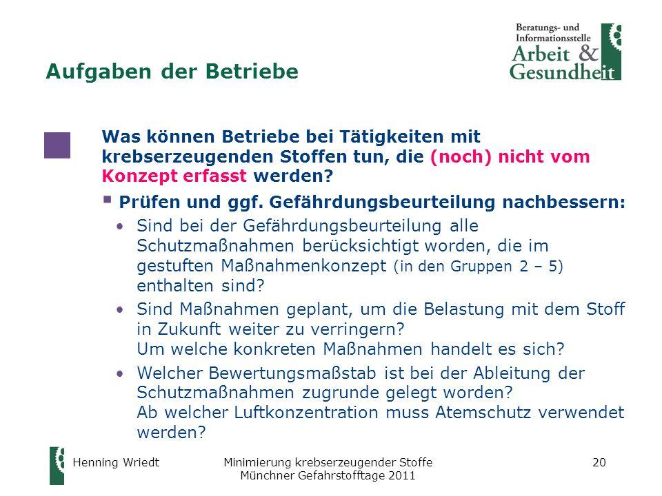 Henning WriedtMinimierung krebserzeugender Stoffe Münchner Gefahrstofftage 2011 20 Was können Betriebe bei Tätigkeiten mit krebserzeugenden Stoffen tu