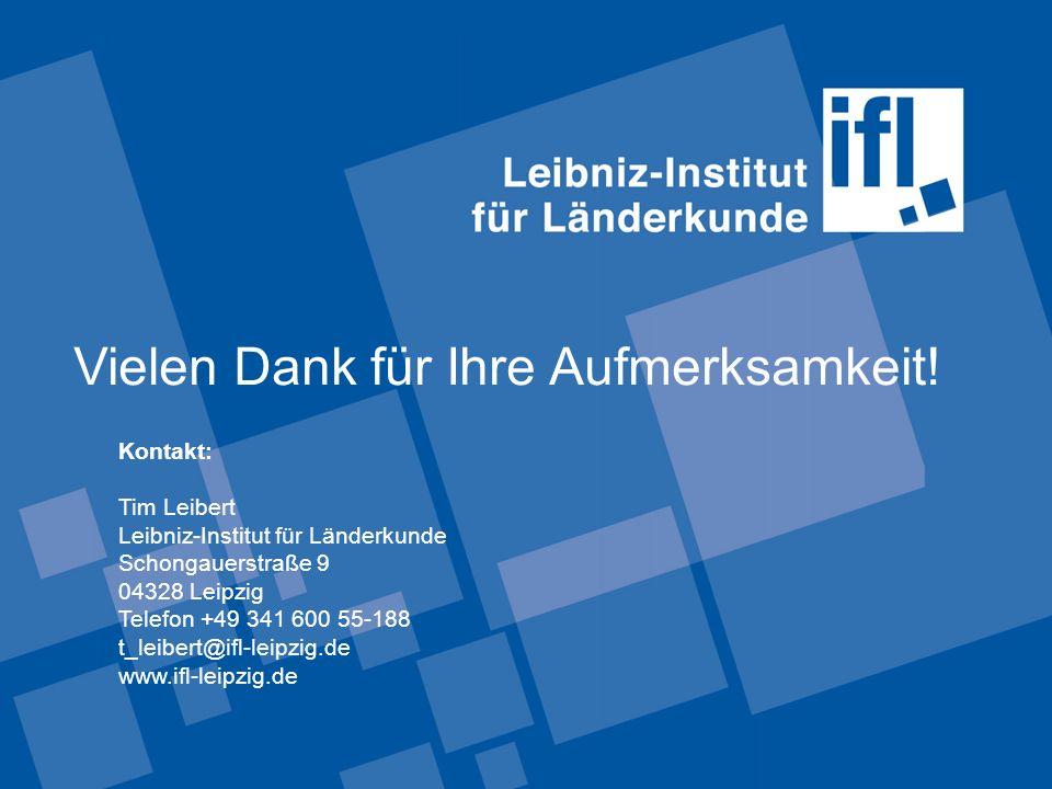 Vielen Dank für Ihre Aufmerksamkeit! Kontakt: Tim Leibert Leibniz-Institut für Länderkunde Schongauerstraße 9 04328 Leipzig Telefon +49 341 600 55-188