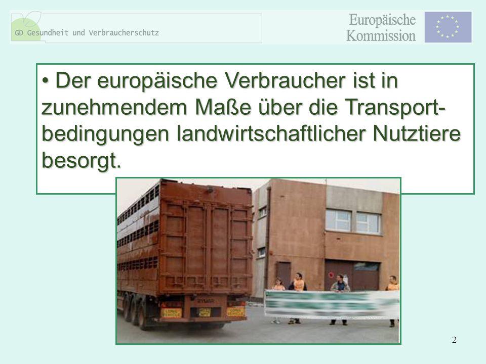 2 Der europäische Verbraucher ist in zunehmendem Maße über die Transport- bedingungen landwirtschaftlicher Nutztiere besorgt. Der europäische Verbrauc