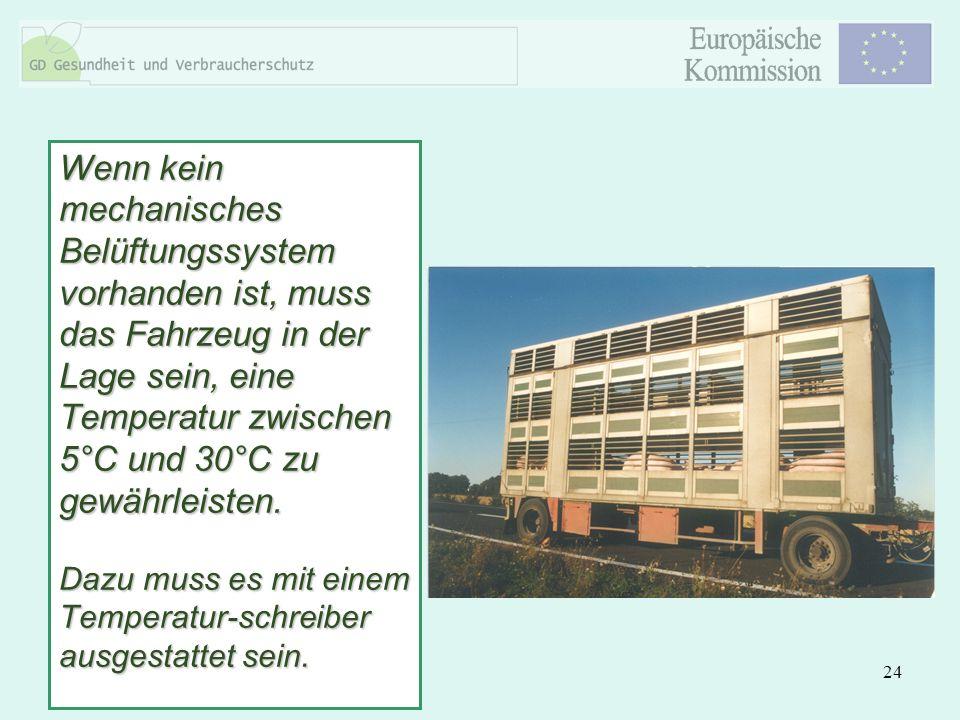 24 Wenn kein mechanisches Belüftungssystem vorhanden ist, muss das Fahrzeug in der Lage sein, eine Temperatur zwischen 5°C und 30°C zu gewährleisten.