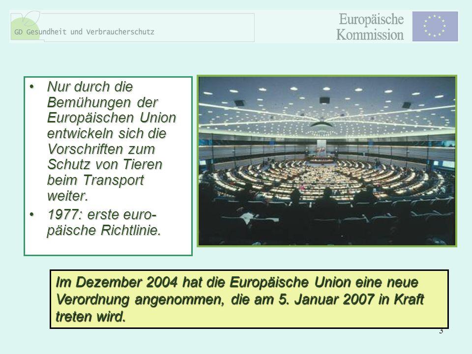 3 Nur durch die Bemühungen der Europäischen Union entwickeln sich die Vorschriften zum Schutz von Tieren beim Transport weiter.Nur durch die Bemühunge