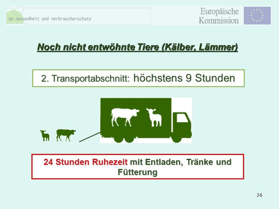 36 Noch nicht entwöhnte Tiere (Kälber, Lämmer) 2. Transportabschnitt: höchstens 9 Stunden 24 Stunden Ruhezeit mit Entladen, Tränke und Fütterung