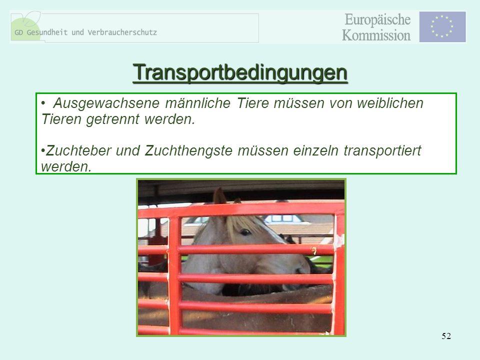 52 Ausgewachsene männliche Tiere müssen von weiblichen Tieren getrennt werden. Zuchteber und Zuchthengste müssen einzeln transportiert werden. Transpo