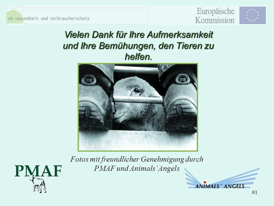 61 Vielen Dank für Ihre Aufmerksamkeit und Ihre Bemühungen, den Tieren zu helfen. Fotos mit freundlicher Genehmigung durch PMAF und Animals Angels