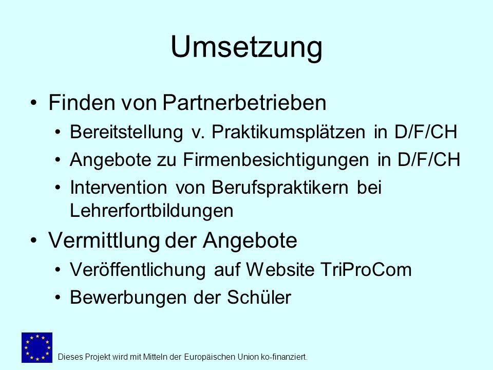 Umsetzung Finden von Partnerbetrieben Bereitstellung v.