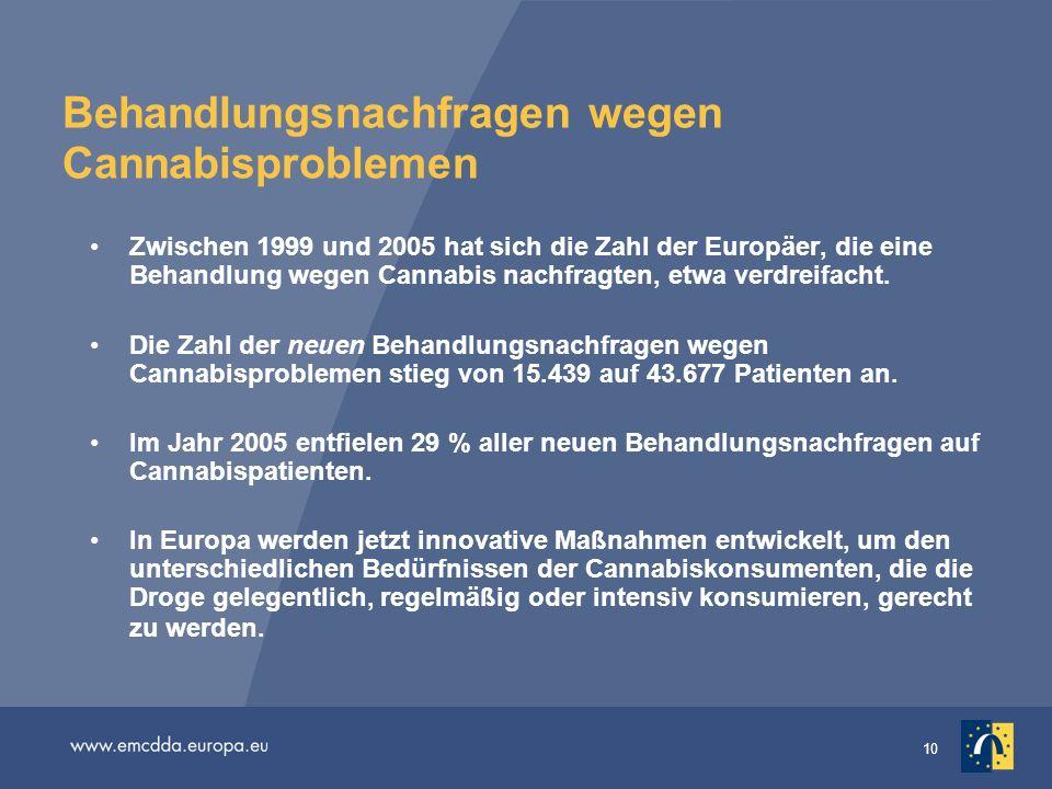 10 Behandlungsnachfragen wegen Cannabisproblemen Zwischen 1999 und 2005 hat sich die Zahl der Europäer, die eine Behandlung wegen Cannabis nachfragten