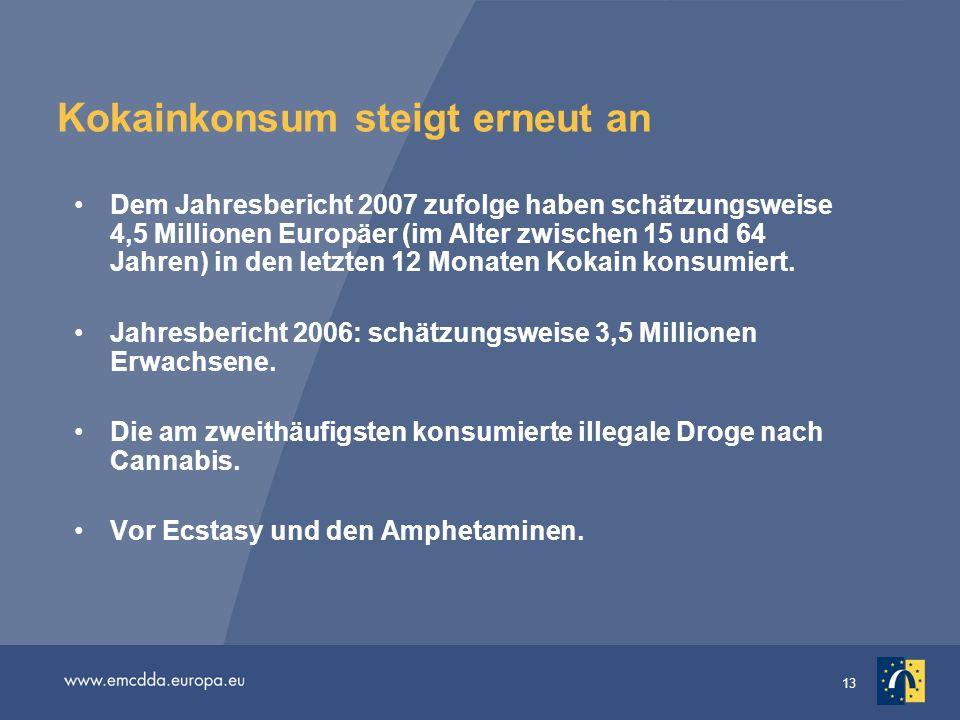 13 Kokainkonsum steigt erneut an Dem Jahresbericht 2007 zufolge haben schätzungsweise 4,5 Millionen Europäer (im Alter zwischen 15 und 64 Jahren) in d