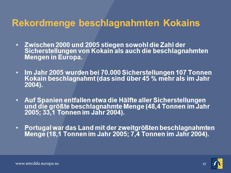 17 Rekordmenge beschlagnahmten Kokains Zwischen 2000 und 2005 stiegen sowohl die Zahl der Sicherstellungen von Kokain als auch die beschlagnahmten Men