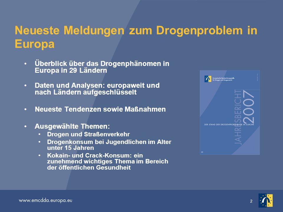 13 Kokainkonsum steigt erneut an Dem Jahresbericht 2007 zufolge haben schätzungsweise 4,5 Millionen Europäer (im Alter zwischen 15 und 64 Jahren) in den letzten 12 Monaten Kokain konsumiert.