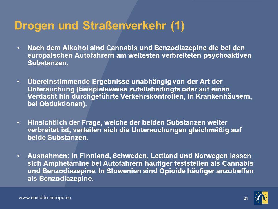 24 Drogen und Straßenverkehr (1) Nach dem Alkohol sind Cannabis und Benzodiazepine die bei den europäischen Autofahrern am weitesten verbreiteten psyc