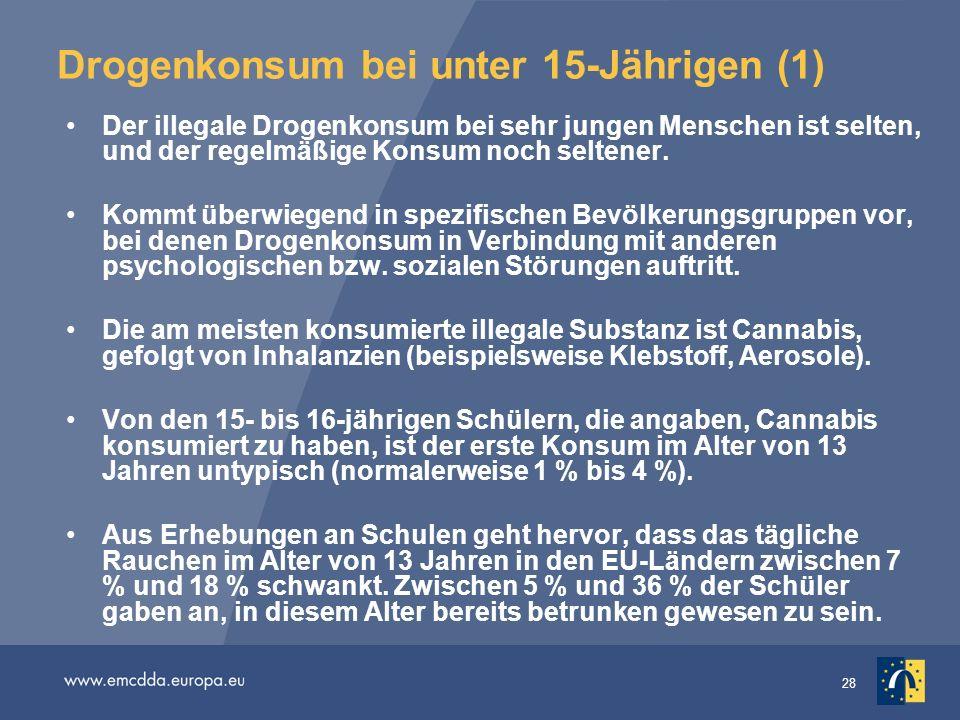 28 Drogenkonsum bei unter 15-Jährigen (1) Der illegale Drogenkonsum bei sehr jungen Menschen ist selten, und der regelmäßige Konsum noch seltener. Kom
