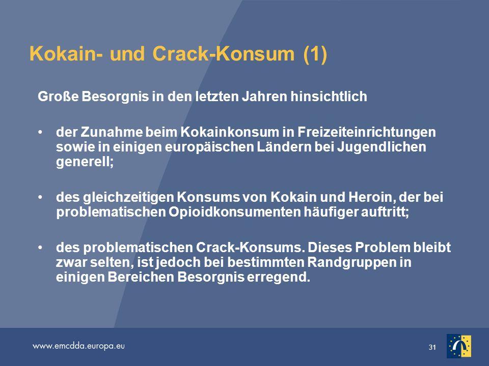 31 Kokain- und Crack-Konsum (1) Große Besorgnis in den letzten Jahren hinsichtlich der Zunahme beim Kokainkonsum in Freizeiteinrichtungen sowie in ein