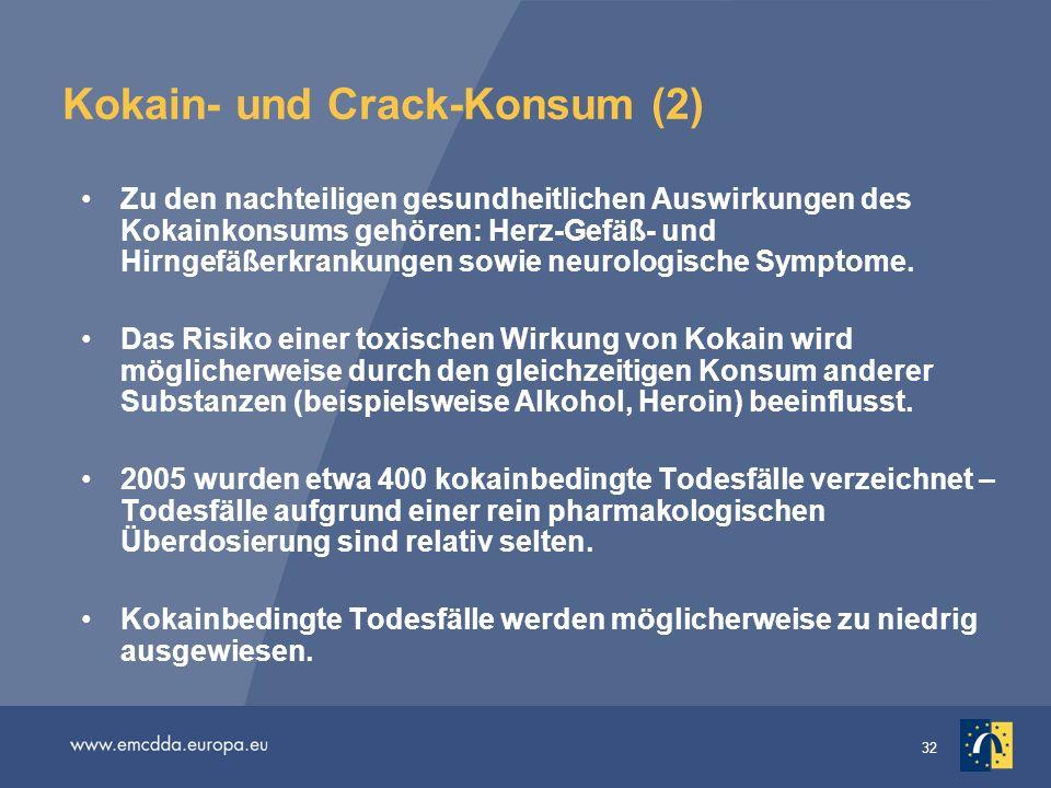 32 Kokain- und Crack-Konsum (2) Zu den nachteiligen gesundheitlichen Auswirkungen des Kokainkonsums gehören: Herz-Gefäß- und Hirngefäßerkrankungen sow
