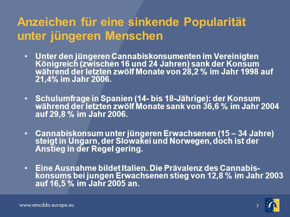 8 Abbildung GPS-10: Prävalenz des Cannabiskonsums in den letzten zwölf Monaten, aufgeschlüsselt nach Altersgruppen im Vereinigten Königreich, gemessen anhand nationaler Erhebungen in der Bevölkerung