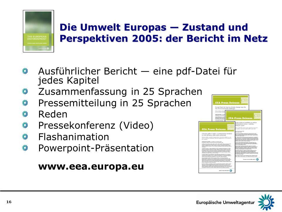 16 Die Umwelt Europas Zustand und Perspektiven 2005: der Bericht im Netz Ausführlicher Bericht eine pdf-Datei für jedes Kapitel Zusammenfassung in 25