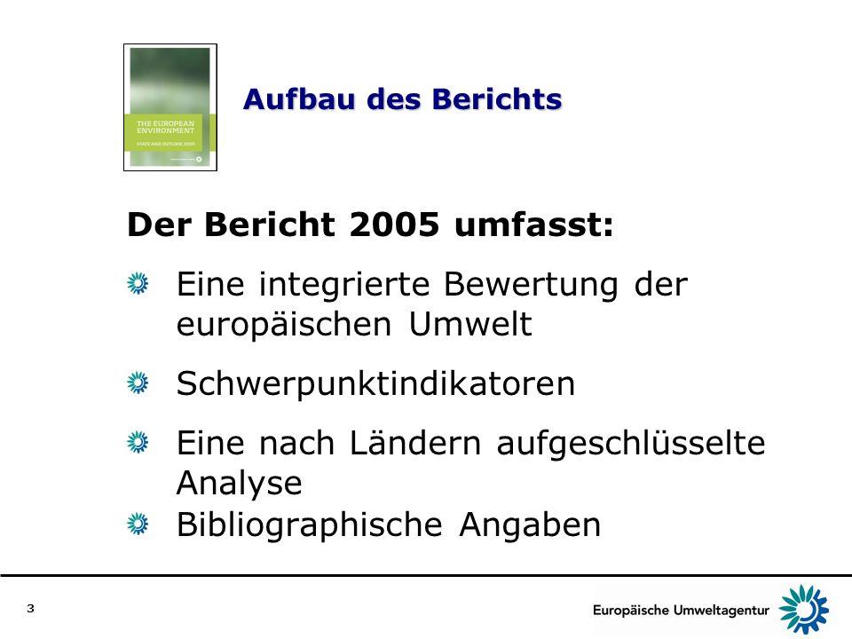 3 Aufbau des Berichts Der Bericht 2005 umfasst: Eine integrierte Bewertung der europäischen Umwelt Schwerpunktindikatoren Eine nach Ländern aufgeschlü