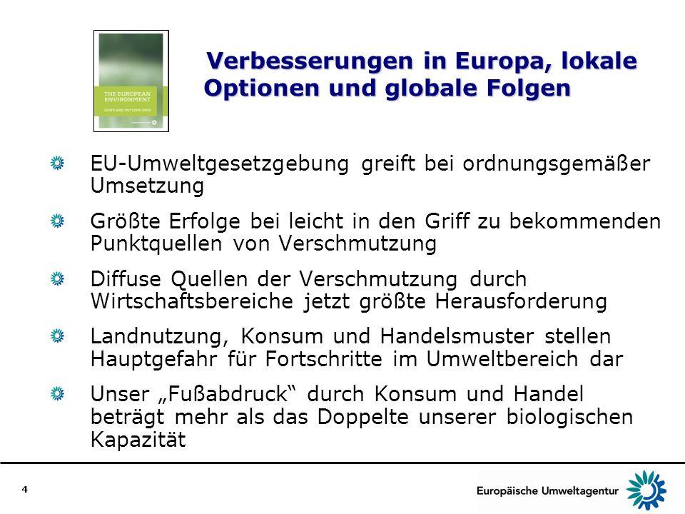 4 Verbesserungen in Europa, lokale Optionen und globale Folgen EU-Umweltgesetzgebung greift bei ordnungsgemäßer Umsetzung Größte Erfolge bei leicht in