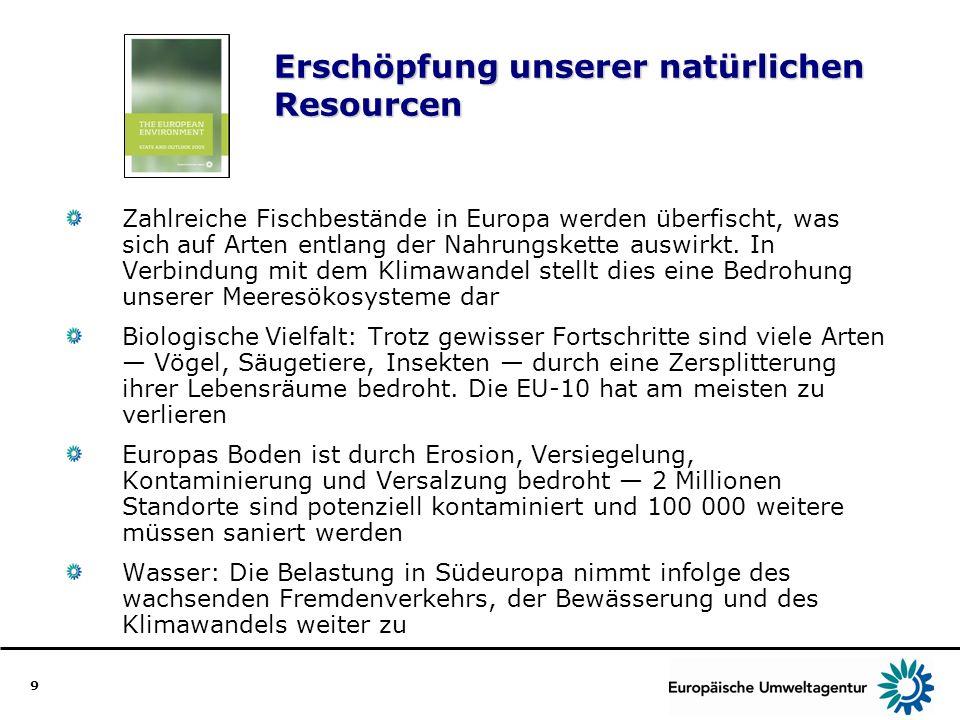 9 Erschöpfung unserer natürlichen Resourcen Zahlreiche Fischbestände in Europa werden überfischt, was sich auf Arten entlang der Nahrungskette auswirk