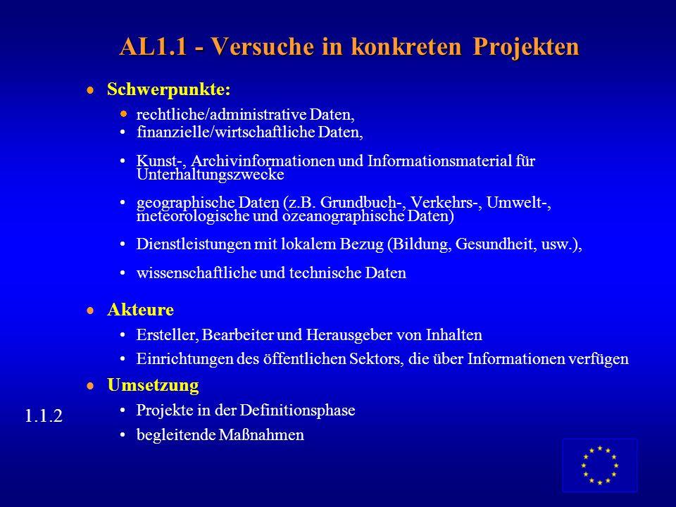 AL1 - Zielsetzung Ausweitung des Informationsangebots Partnerschaften zwischen öffentlichem und privatem Sektor anregen Frühzeitiges Experimentieren u