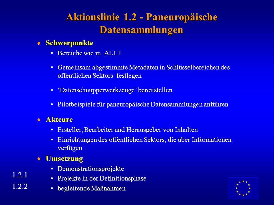 AL1.1 - Versuche in konkreten Projekten Schwerpunkte: rechtliche/administrative Daten, finanzielle/wirtschaftliche Daten, Kunst-, Archivinformationen