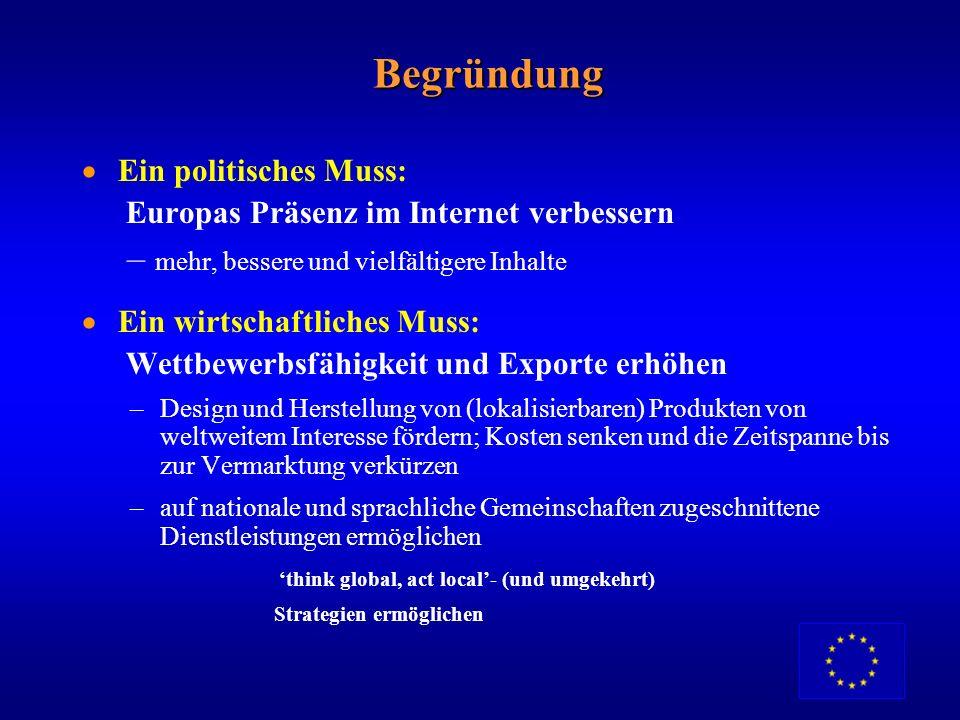 Europa verfügt über … aber es ein reichhaltiges Inhaltsangebot eine lange Tradition im Publizieren Technische Stärken (GSM, IDTV) Akteure auf Weltnive
