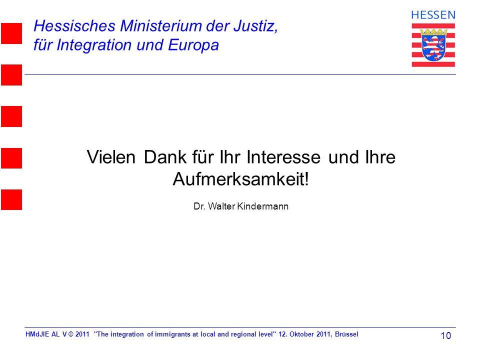 Hessisches Ministerium der Justiz, für Integration und Europa Vielen Dank für Ihr Interesse und Ihre Aufmerksamkeit! Dr. Walter Kindermann HMdJIE AL V
