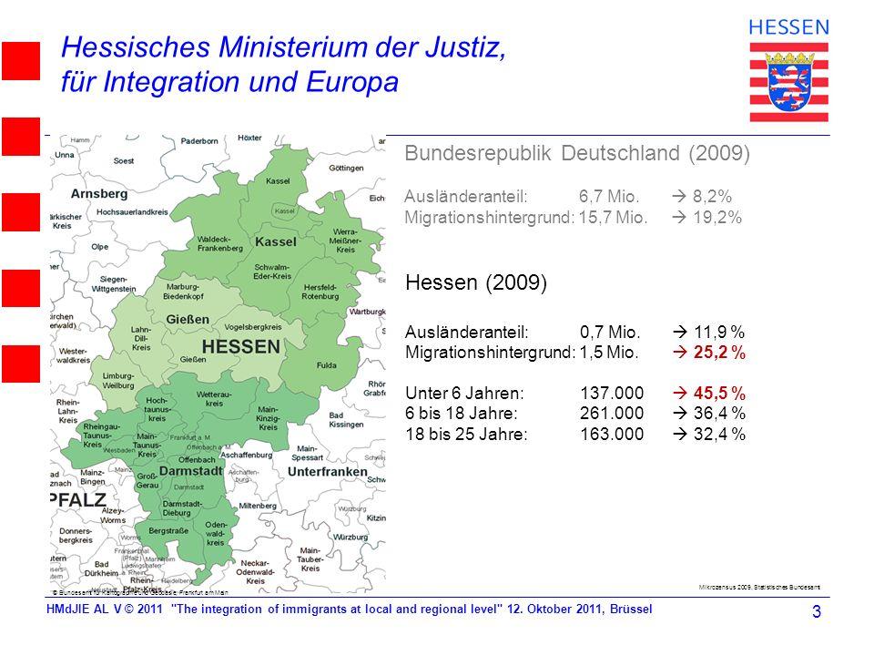 Hessisches Ministerium der Justiz, für Integration und Europa Bundesrepublik Deutschland (2009) Ausländeranteil: 6,7 Mio. 8,2% Migrationshintergrund:
