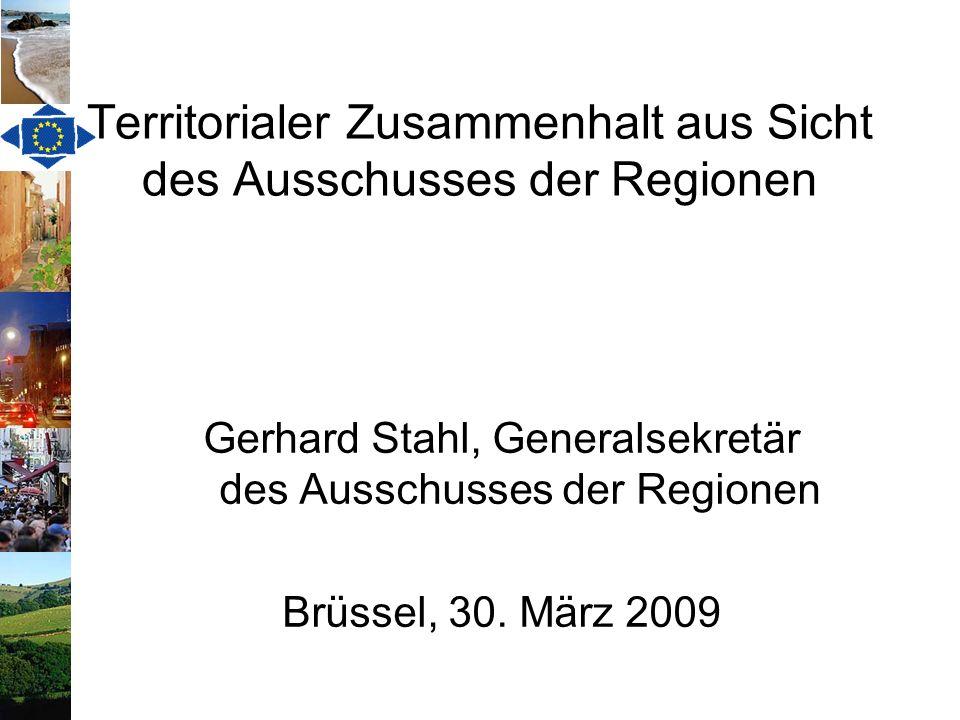 Territorialer Zusammenhalt Lissabon-Vertrag: Neues Ziel, jedoch keine Definition Territoriale Agenda der EU von 2007: Ziel ist eine polyzentrische Entwicklung; Gewährleistung gleichwertiger Entwicklungschancen aller Bürger, unabhängig vom Wohnort Grünbuch der europäischen Kommission von 2008 – keine Defintion