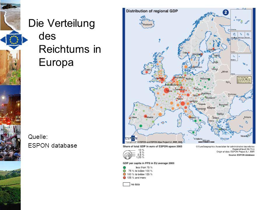Die Verteilung des Reichtums in Europa Quelle: ESPON database