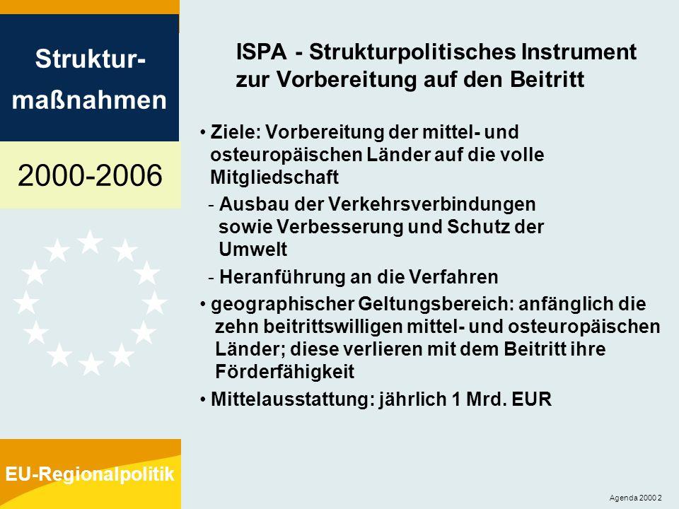 2000-2006 Struktur- maßnahmen EU-Regionalpolitik Agenda 2000 2 ISPA - Strukturpolitisches Instrument zur Vorbereitung auf den Beitritt Ziele: Vorberei