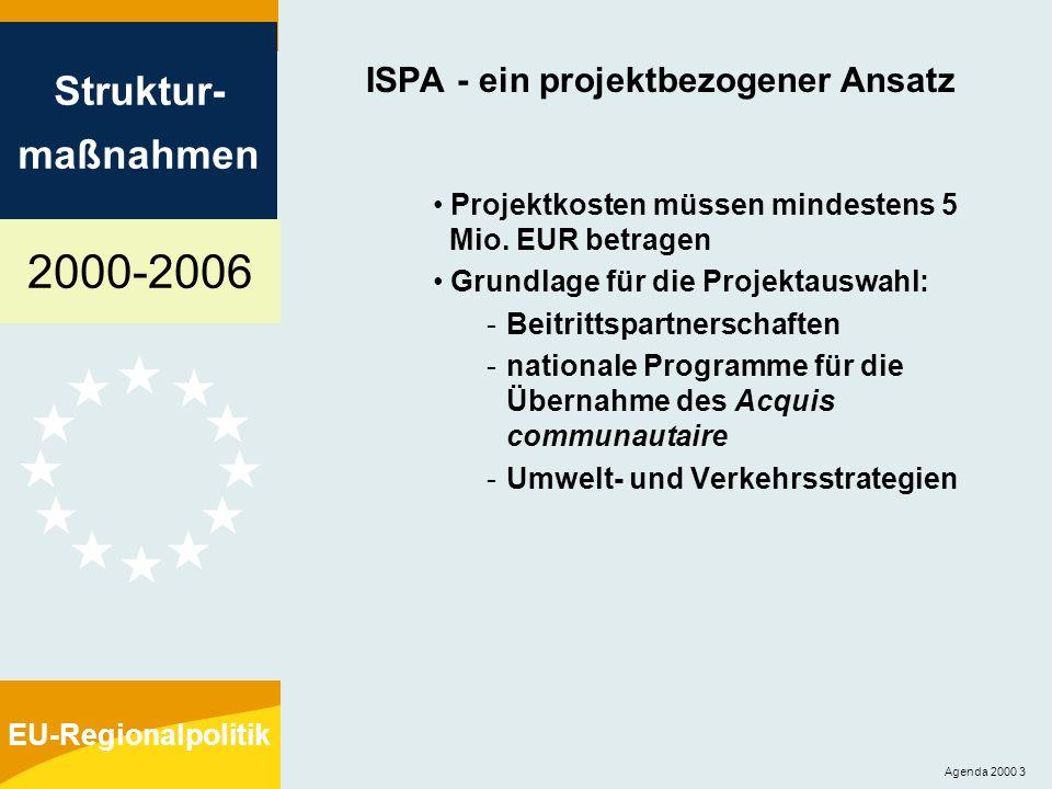 2000-2006 Struktur- maßnahmen EU-Regionalpolitik Agenda 2000 4 ISPA - Mittelzuweisungen Indikative Mittelzuweisungen durch die Kommission anhand folgender Kriterien: Bevölkerung Pro-Kopf-BIP (gemessen in Kaufkraftparitäten) Landesfläche
