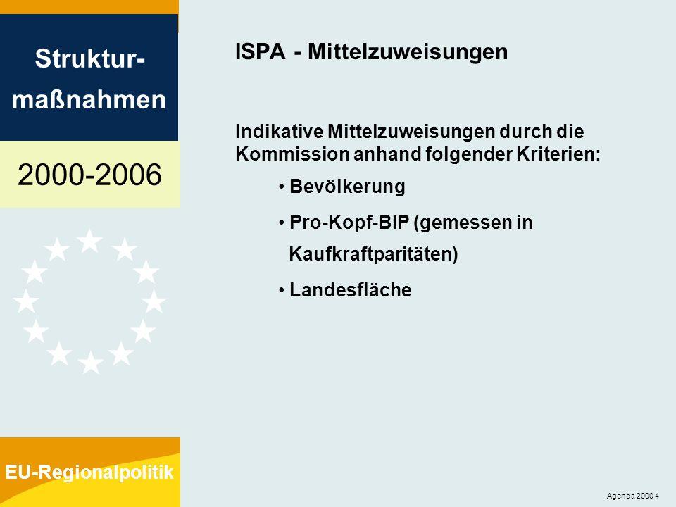 2000-2006 Struktur- maßnahmen EU-Regionalpolitik Agenda 2000 4 ISPA - Mittelzuweisungen Indikative Mittelzuweisungen durch die Kommission anhand folge