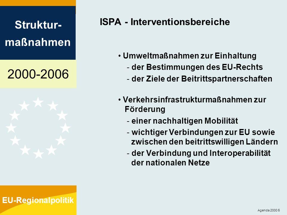 2000-2006 Struktur- maßnahmen EU-Regionalpolitik Agenda 2000 6 ISPA - Interventionssätze bis zu 75% der öffentlichen oder gleichgestellten Ausgaben (in Ausnahmefällen bis zu 85%) Interventionssatz kann verringert werden, um folgendem Rechnung zu tragen: - Verfügbarkeit von Kofinanzierungsmitteln - Schaffung von Einnahmen - Anwendung des Verursacherprinzips