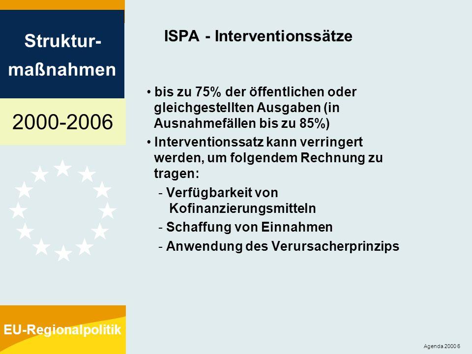 2000-2006 Struktur- maßnahmen EU-Regionalpolitik Agenda 2000 7 ISPA - Finanzmanagement es gilt Titel IX der Haushaltsordnung (Außenhilfe) Finanzierungsvereinbarung zwischen der Kommission und dem begünstigten Land Konditionalität: Bestimmungen für die Streichung der Unterstützung