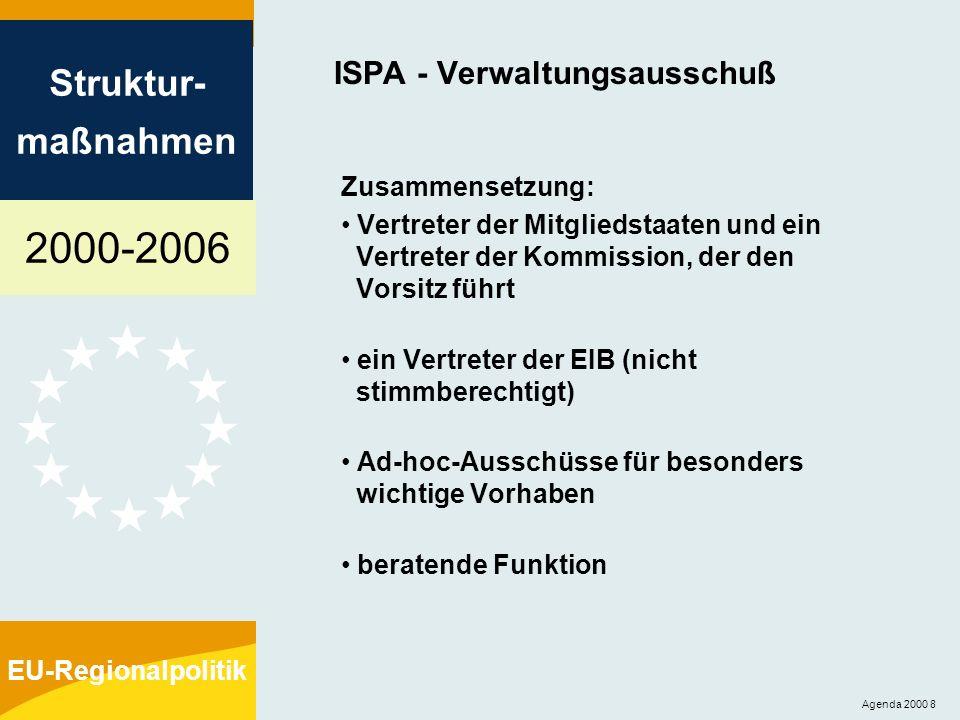 2000-2006 Struktur- maßnahmen EU-Regionalpolitik Agenda 2000 8 ISPA - Verwaltungsausschuß Zusammensetzung: Vertreter der Mitgliedstaaten und ein Vertr