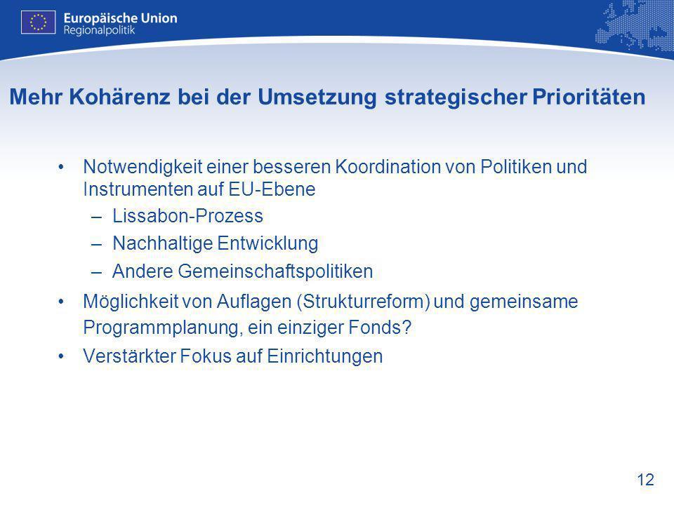 12 Mehr Kohärenz bei der Umsetzung strategischer Prioritäten Notwendigkeit einer besseren Koordination von Politiken und Instrumenten auf EU-Ebene –Li