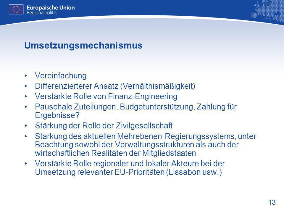 13 Umsetzungsmechanismus Vereinfachung Differenzierterer Ansatz (Verhältnismäßigkeit) Verstärkte Rolle von Finanz-Engineering Pauschale Zuteilungen, B
